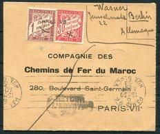 1933 France Paris Refuse Postage Due, Taxe Cover - Chemins De Fer Du Maroc, Retour. Berlin Germany - Postage Due