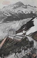 FURKASTRASSE - 5er Pferdegespann Beim Rhonegletscher Oberhalb Des Hotels Ca.1910 - VS Wallis