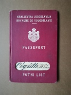 1938 YUGOSLAVIA KINGDOM Passport Male Visa Poland Expired 1938 SEE PHOTOS FOR CONDITION - Historische Dokumente
