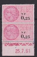 Timbre Fiscal N° 328** (bloc De 2 Date Recto Verso: 25.7.61) - Fiscaux