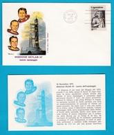 1973 FDC Roma Missione Skylab III Spazio Space America 4 Buste Con Cartolina - FDC & Commemorrativi