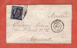 FRANCE N° 4 SUR LETTRE DE 1851 DE PARIS POUR AMIENS - 1849-1850 Ceres