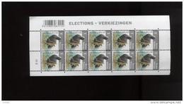 Belgie Buzin Vogels Birds 4042 2010 Verkiezingen Volledig Vel Plaatnummer 2 Grijsblauwe Gom - 1985-.. Oiseaux (Buzin)