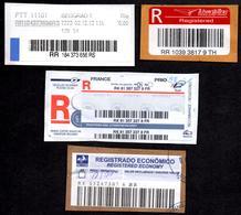 Bar Code Registered Labels Serbia Thailand Poland France Brasil Code à Barres Barcode-registrierte Etiketten - Poste