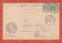 FRANCE TYPE BLANC SUR CARTE DE 1901 AMBULANT DE TROYES A CHATILLON POUR THANN - 1900-29 Blanc
