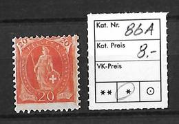 1882-1904 STEHENDE HELVETIA → SBK-86A* - Neufs