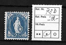 1882-1904 STEHENDE HELVETIA → SBK-73D* - Unused Stamps