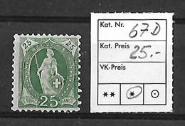 1882-1904 STEHENDE HELVETIA → SBK-67D* - 1882-1906 Wappen, Stehende Helvetia & UPU