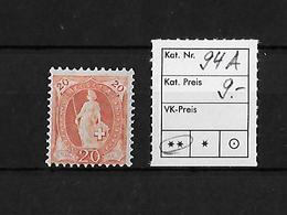 1882-1904 STEHENDE HELVETIA → SBK-94A** - Neufs
