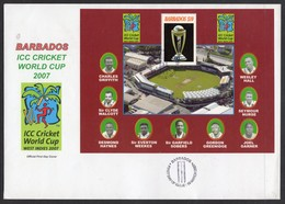 BARBADOS - 2007 ICC CRICKET WORLD CUP $10 MS ON LARGE (23cm X 16cm) FDC RARE & FINE HEAVY LOT - Barbades (1966-...)