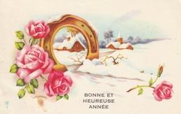 Carte Postale Des Années 60 Fantaisie - Mignonette - Paysage - Bonne Et Heureuse Année - Fantaisies