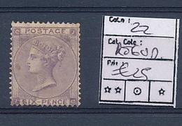 UK GRANDE BRETAGNE VICTORIA YVERT 22 REGUM - 1840-1901 (Victoria)