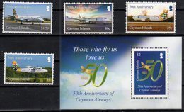 CAYMAN ISLANDS, 2018, MNH, PLANES, 50th ANNIVERSARY OF CAYMAN AIRWAYS, 5v+S/SHEET - Airplanes