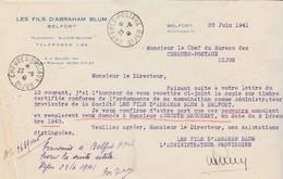 Petite Facture 1941 / Les Fils D' Abraham BLUM / 90 Belfort - France