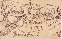 Bonne Année, Carte En Bois, Village Sous La Neige, Dos Scanné - Cartes Postales