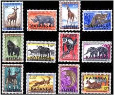 Katanga 0006/17** Animaux Surchargés MNH - Katanga