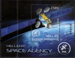 GREECE, 2018, MNH,SPACE, HELLENIC SPACE AGENCY, SATELLITES, S/SHEET - Space