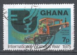 Ghana 1975. Scott #554 (U) IWY Emblem, Woman Tractor Driver * - Ghana (1957-...)