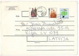 Multiple Stamps Cover - 17 August 1994 Raseiniai To Latvia - Lituanie