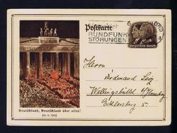 ÉVITER Les Interférences Radio AVOID Interference! Postal Stationery Berlin Brandburg Doors 1934 Deutlches Reich Gc3756 - Seconda Guerra Mondiale