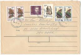 Multiple Stamps Cover - 6 October 1995 Joniškis To Denmark - Lithuania