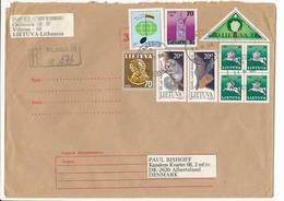 Registered Multiple Stamps Cover - 25 September 1995 Vilnius-10 To Denmark - Lituanie