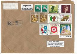 Registered Multiple Stamps Cover - 24 August 1996 Vilnius-13 To Denmark - Lithuania