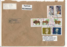 Registered Multiple Stamps Cover - 24 August 1996 Vilnius-13 To Denmark - Lituanie
