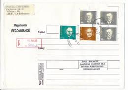 Registered Multiple Stamps Cover - 1 February 1997 Vilnius To Denmark - Lituanie