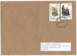 Multiple Stamps Cover - 1 August 1995 Vilnius-42 To Denmark - Lituanie