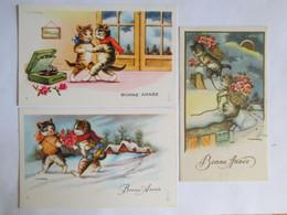 CHATS - Lot De 3 Mignonnettes Chats  Bonne Année - Illustration GOUGEON - TBE - Gougeon