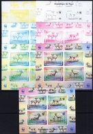 Niger 1998, WWF, Gazelle, 4val In BF IMPERFORATED 6 Trial Colors Proof - W.W.F.