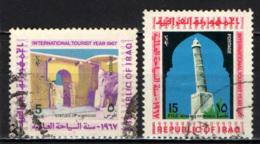 IRAQ - 1967 - STATUE DI NIMROUD E MINARETO DI MOSUL - ANNO INTERNAZIONALE DEL TURISMO - USATI - Iraq