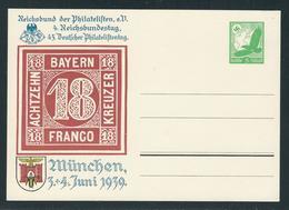 Privatpostkarte MiNr. PP 142 C 44 01 3.-4.6.1939 MÜNCHEN, Rs Blanco, 5 Pf. Luftpost Grün, Ungebraucht, - Deutschland