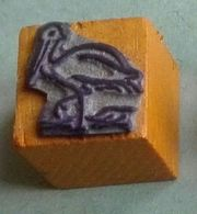 Dessin, Oiseau, Cigogne - Tampon Scolaire, Petit Cube Bois - French Rubber Stamp, School - Coloriage - Loisirs Créatifs