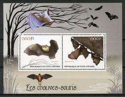 Ivory Coast 2017 MNH Bats Bat 2v M/S Chauves-Souris Flying Mammals Animals Stamps - Bats