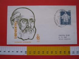 A.02 ITALIA ANNULLO - 1980 NORCIA PERUGIA FDC NASCITA SAN BENEDETTO PATRONO EUROPA SANTO - Teologi