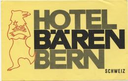 HOTEL BAEREN BERN Ca. 1940 Etiquette De Bagages - Hotel-Etikette - Suisse - Schweiz - Etiquettes D'hotels