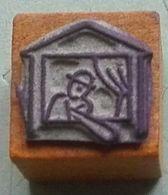 Dessin, Guignol, Théâtre Marionnette - Tampon Scolaire, Petit Cube Bois - French Rubber Stamp, School - Coloriage - Loisirs Créatifs