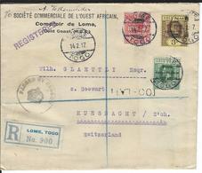 Togo Censored Registered Letter SG H35, H47, H51, Mi 23, 34, 38 Lome 14.2.17 To Küsnacht CH - Grande-Bretagne (ex-colonies & Protectorats)