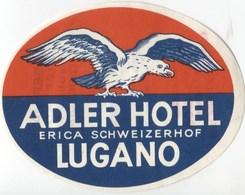 HOTEL ADLER LUGANO Ca. 1940 Etiquette De Bagages - Hotel-Etikette - Suisse - Schweiz - Etiquettes D'hotels