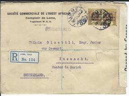 Togo Censored Registered Letter SG 2xH51, Mi 2x38 Lome 24.10.18 To Küsnacht CH - Grande-Bretagne (ex-colonies & Protectorats)