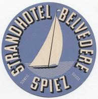 STRANDHOTEL BELVEDERE SPIEZ Ca. 1940 Etiquette De Bagages - Hotel-Etikette - Suisse - Schweiz - Etiquettes D'hotels
