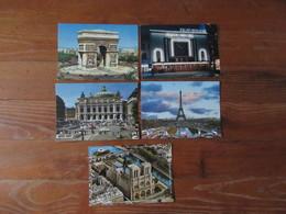 Lot De 5 Cartes De Paris   Place De L'Opéra  Arc De Triomphe Tour Eiffel   Notre Dame   Folies Bergères - Cartes Postales