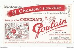 BUVARD , Chocolats POULAIN , 21 Chansons Nouvelles , Bon Voyage Monsieur Dumollet - Chocolat