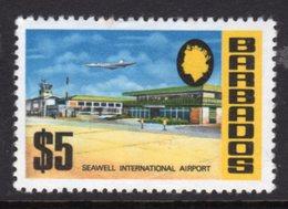 BARBADOS - 1970 $5 CHALK SURFACED DEFINITIVE WMK W12 S/W MOUNTED MINT MM * SG 414 - Barbados (1966-...)