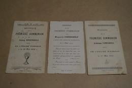 Esneux, Lot De 3 Faire-parts De Communion,Famille Vandenabeele 1907-1910-1914 - Communion