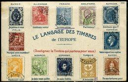Cpa Illustrée   Langage Des Timbres De L'Europe - Timbres (représentations)