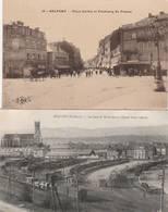 2 CPA:BELFORT (90) TRAIN EN GARE DE MULHOUSE ÉGLISE SAINT JOSEPH,PLACE CORBIS FAUBOURG DE FRANCE..ÉCRITES - Belfort - Ville