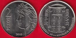 "Argentina 2 Pesos 2010 Km#162 ""75y Of Bank B.C.R.A."" UNC - Argentine"